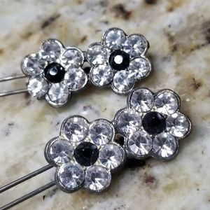 Two Swarovski Crystals baby hair clips